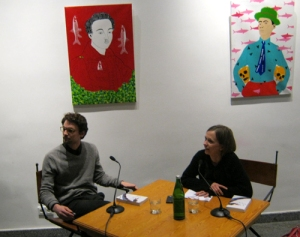 Schrijver Kevin Kuhn en literatuurcritica Wiebke Porombka