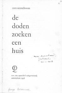 """Cees Nootebooms eerste dichtbundel """"De doden zoeken een huis"""""""