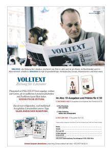Schrijver Arno Geiger op de pagina om abonnementen voor VOLLTEXT te werven.
