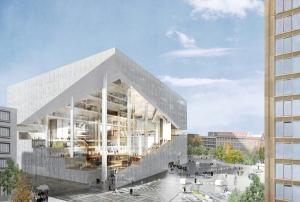 Het toekomstige Axel Springer gebouw, ontworpen door Rem Koolhaas