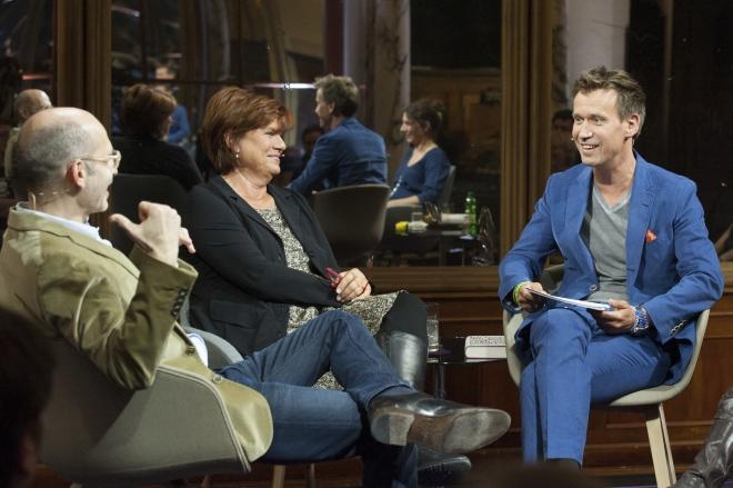 """""""Das Literarische Quartett"""": van links naar rechts: Maxim Biller, Christine Westermann, Volker Weidermann. © ZDF/Jule Roehr"""