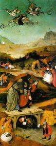 """Jheronimus Bosch: deel van het Antonius-drieluik, ook De verzoeking of De temptatie van de heilige Antonius genoemd. """"TemptationStAnthony-left"""" von Hieronymus Bosch (etwa 1450–1516) - Unbekannt. Lizenziert unter Gemeinfrei über Wikimedia Commons - https://commons.wikimedia.org/wiki/File:TemptationStAnthony-left.jpg#/media/File:TemptationStAnthony-left.jpg"""