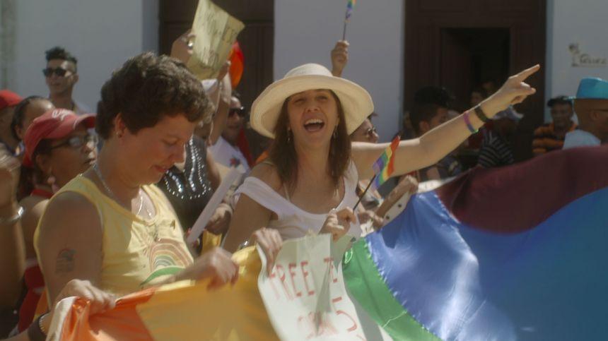 Mariela Catro tijdens een demonstratie.