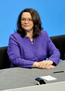 De Duitse minister Nahles van Werkgelegenheid
